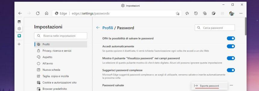 Microsoft Edge - Esporta password in file CSV