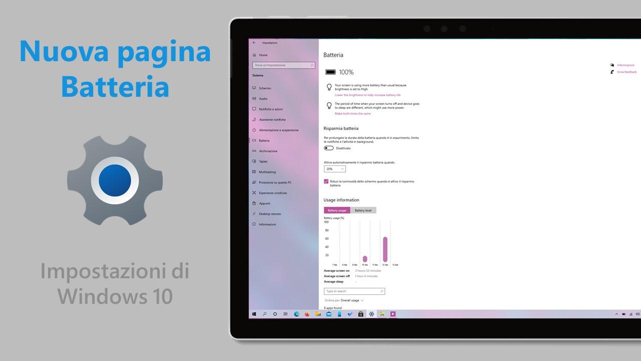 Nuova pagina Batteria nelle Impostazioni di Windows 10 - Come attivarla subito