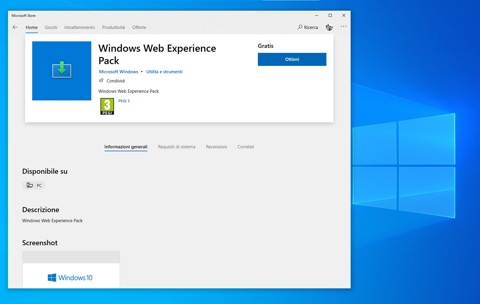 Windows Web Experience Pack - Microsoft Store per Windows 10
