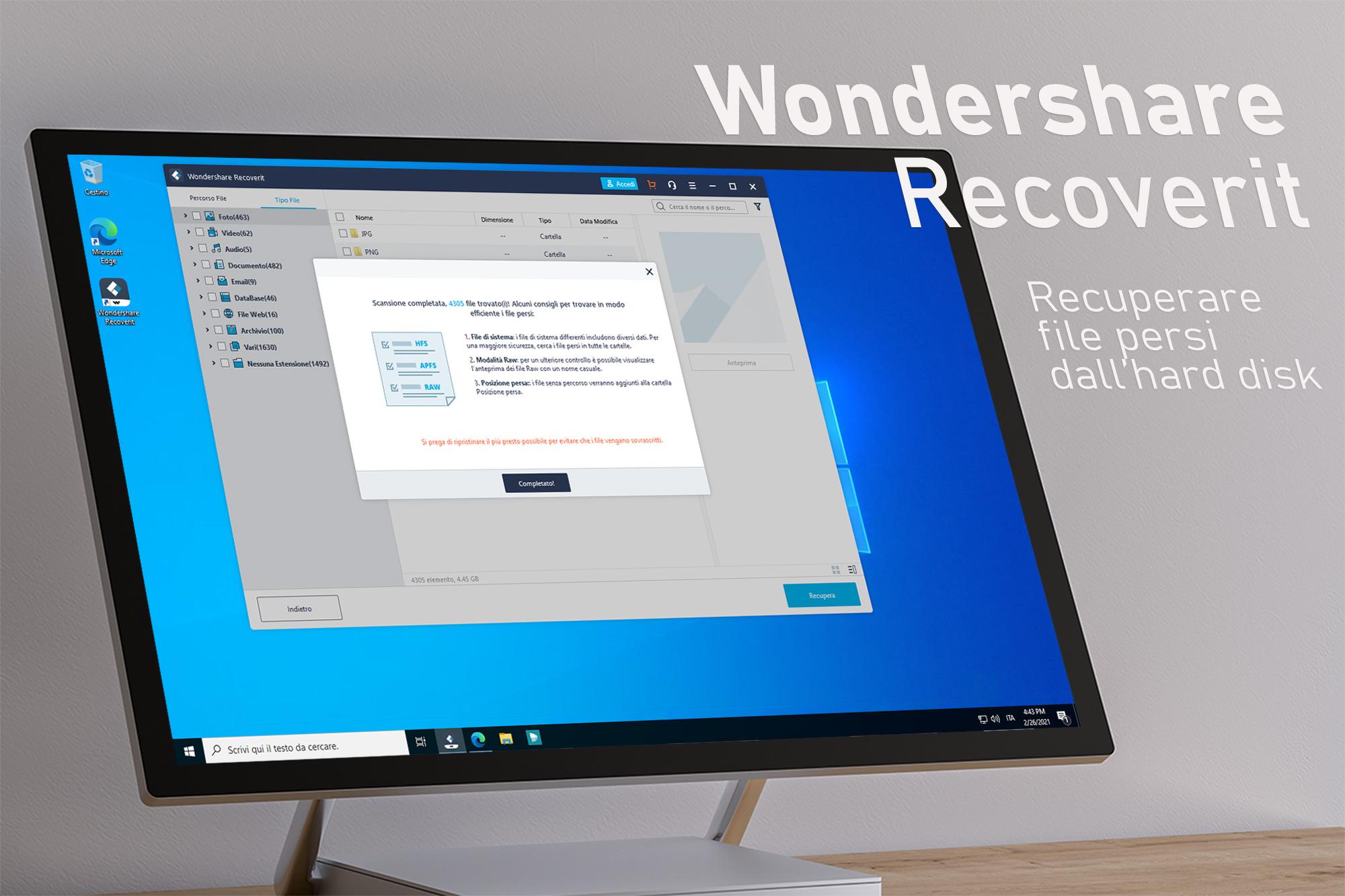 Wondershare Recoverit - Programma per il ripristino di file e dati danneggiati dall'hard disk