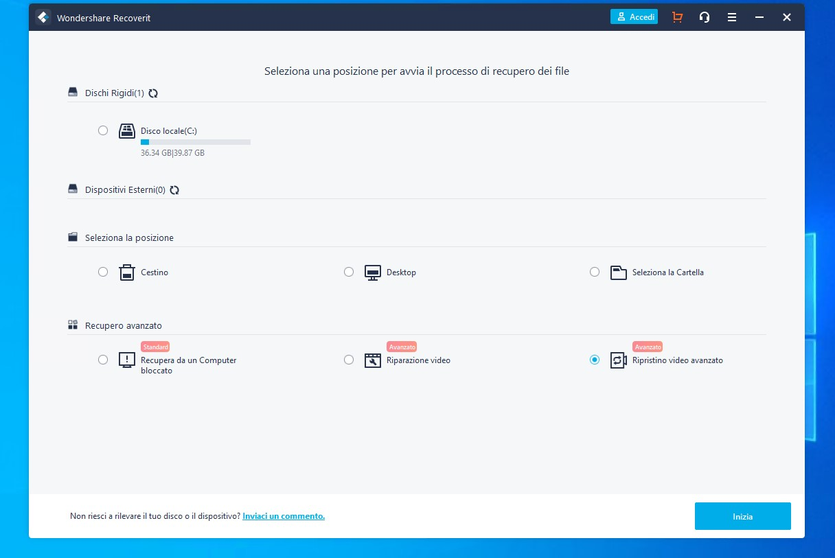 Wondershare Recoverit per Windows - Pagina principale