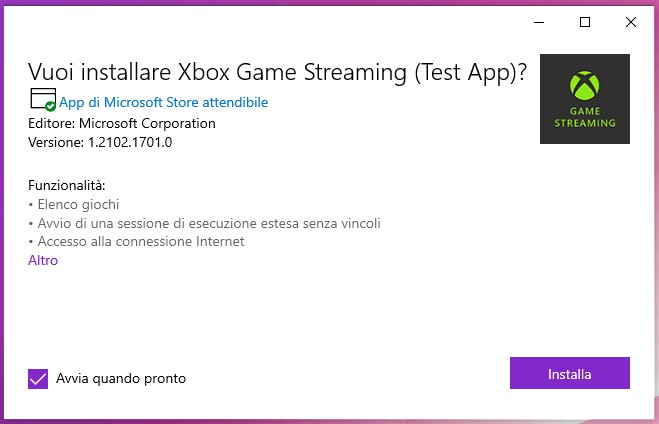 Xbox Game Streaming (Test App) - Windows 10 - Installazione pacchetto