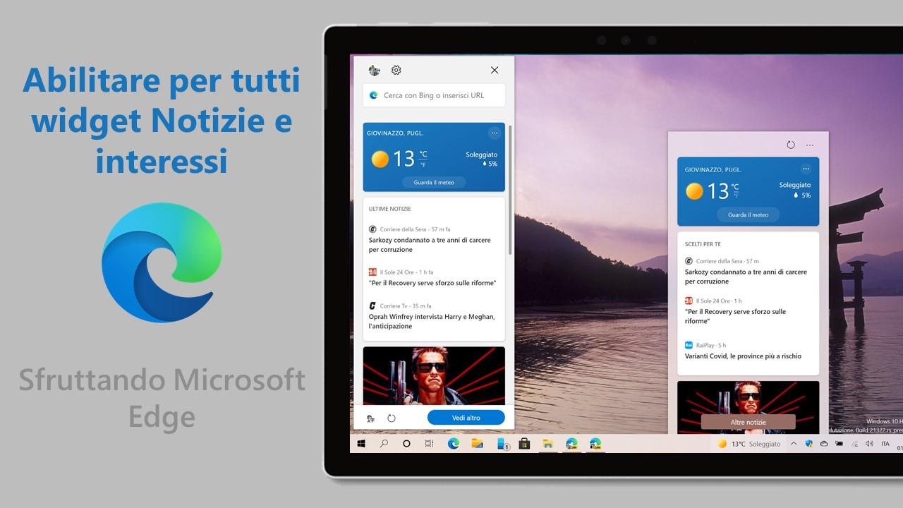 Abilitare per tutti widget Notizie e interessi con Microsoft Edge