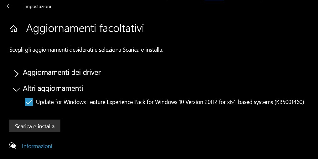 Aggiornamento Windows Feature Experience Pack - Windows 10 Insider canale Release Preview