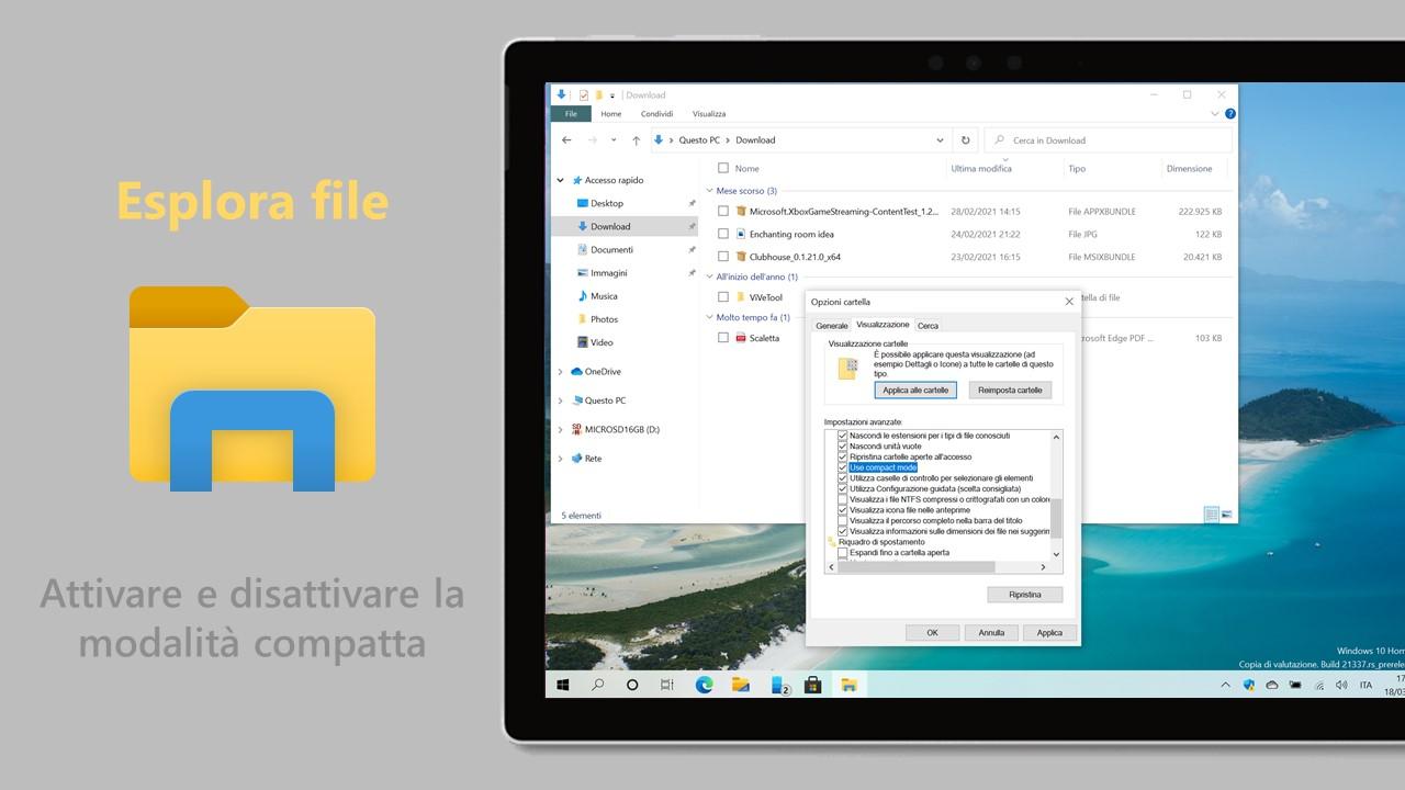 Esplora file in Windows 10 - Come attivare e disattivare la modalità compatta