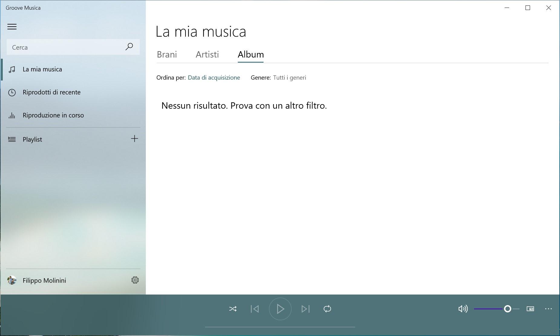 Groove Musica per Windows 10 - Banner di Spotify rimosso