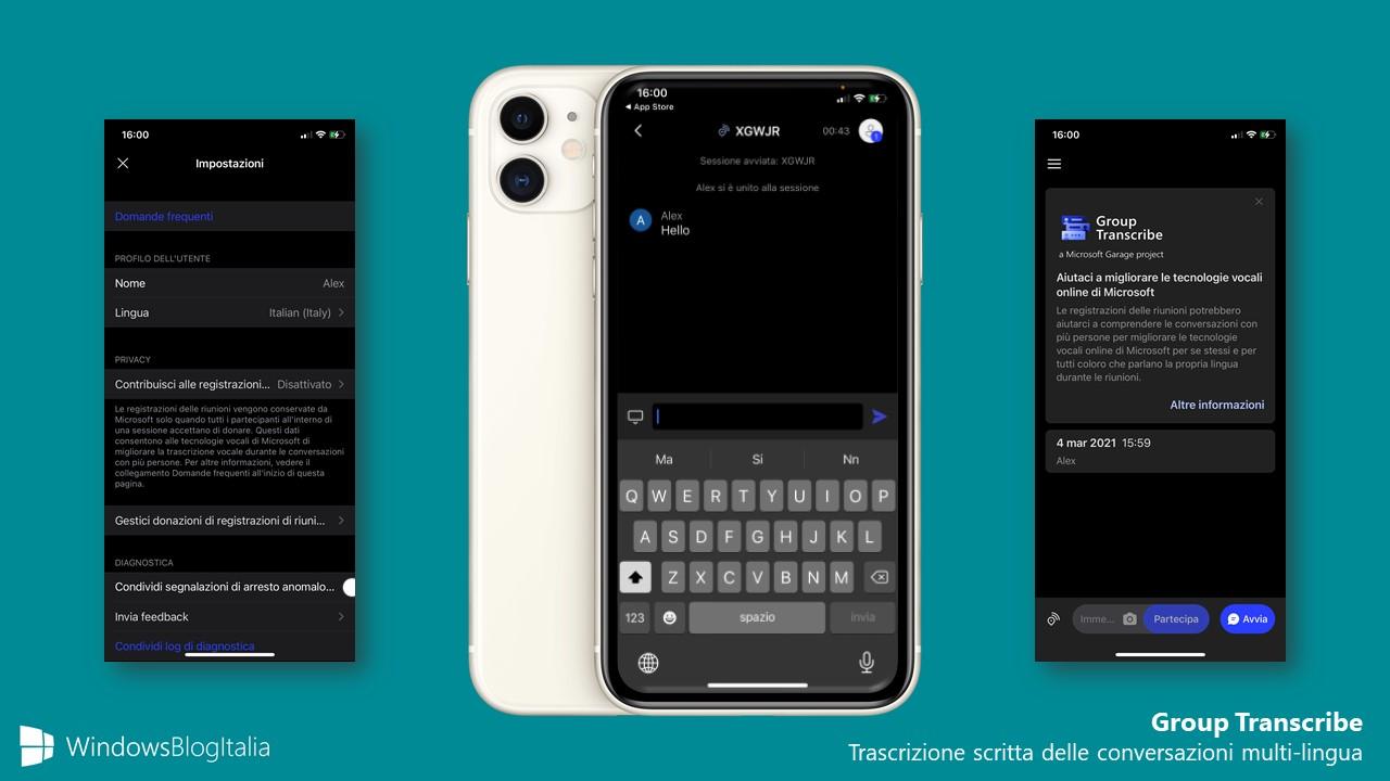 Group Transcribe - App di Microsoft Garage per iOS e iPadOS - Trascrizione scritta delle conversazioni multi-lingua