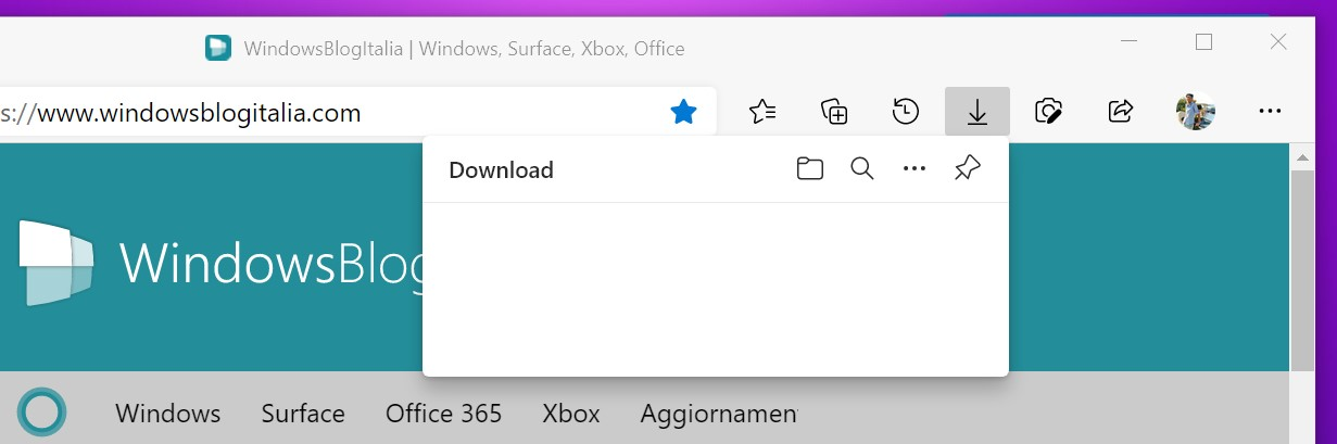 Microsoft Edge - Nuovo flyout per i download