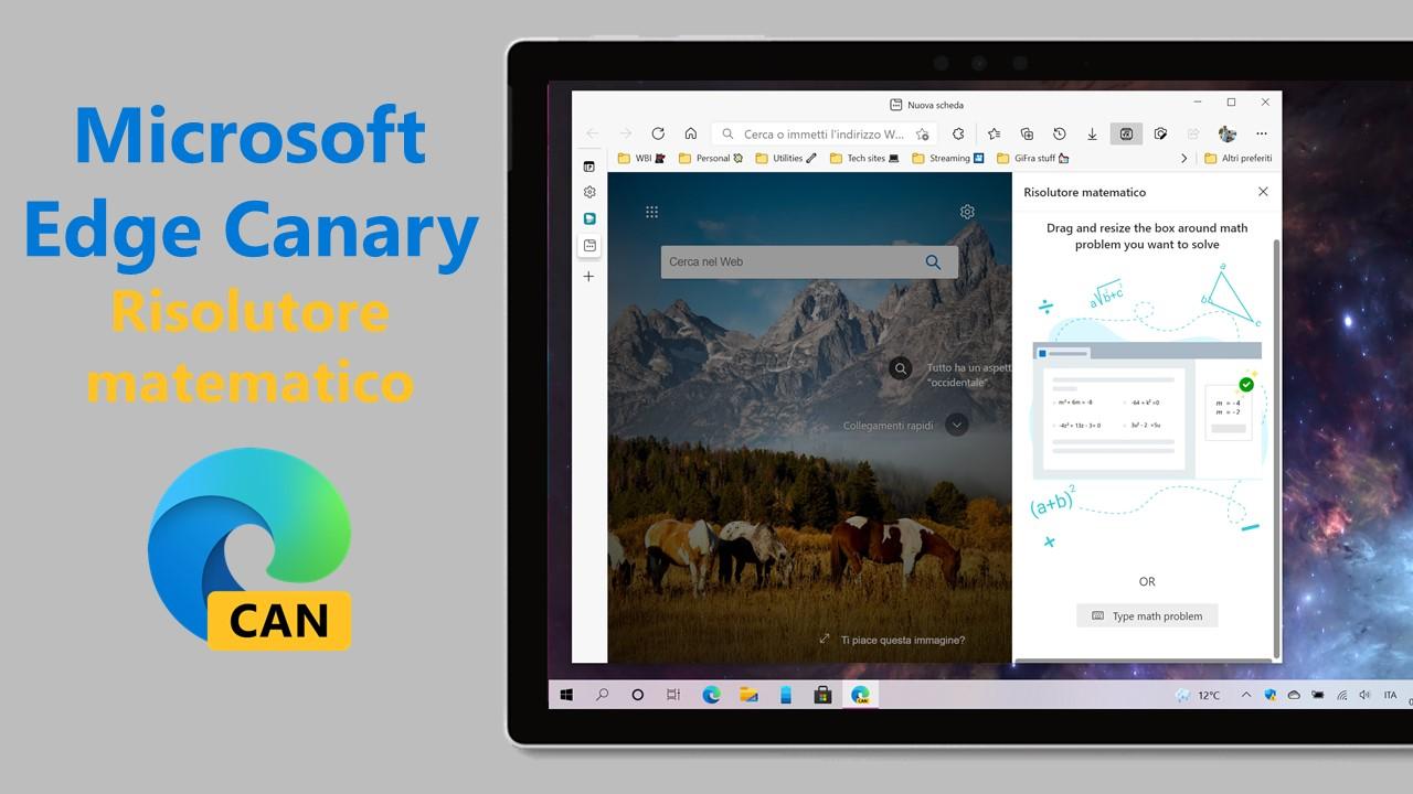 Microsoft Edge Canary - Risolutore matematico