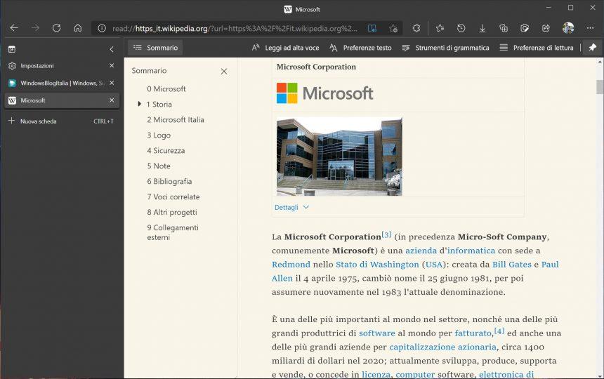 Microsoft Edge - Modalità lettura su Wikipedia