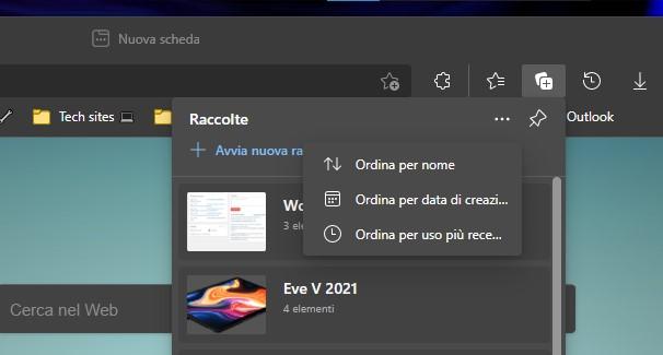 Microsoft Edge - Ordinamento delle Raccolte