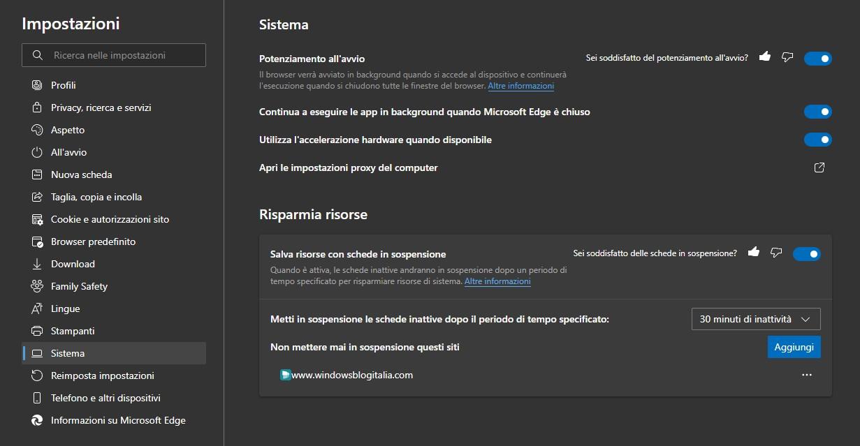 Microsoft Edge - Potenziamento all'avvio e Schede in sospensione