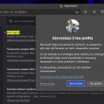 Microsoft Edge su Linux - Attivazione della sincronizzazione