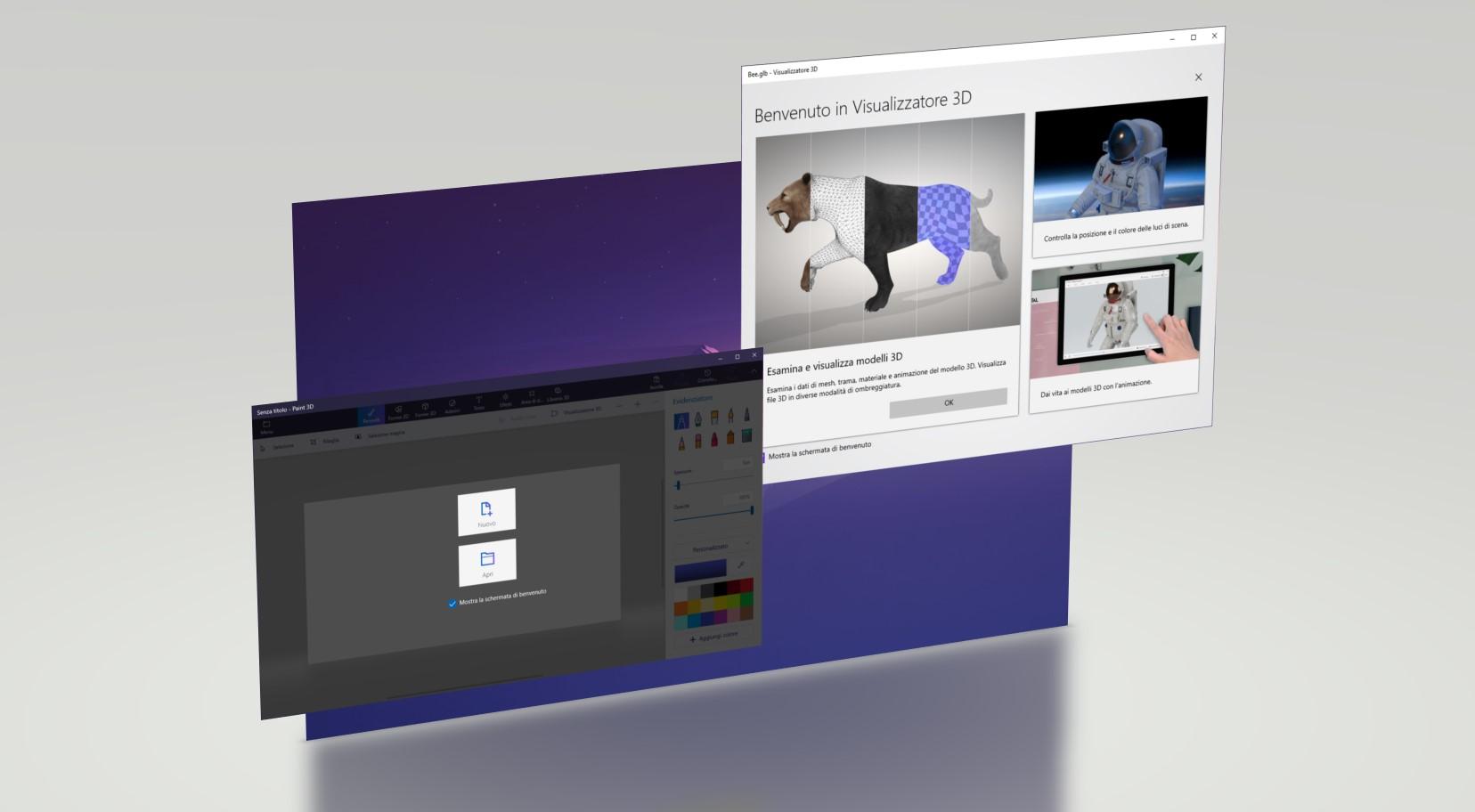 Paint 3D e 3D Viewer in Windows 10