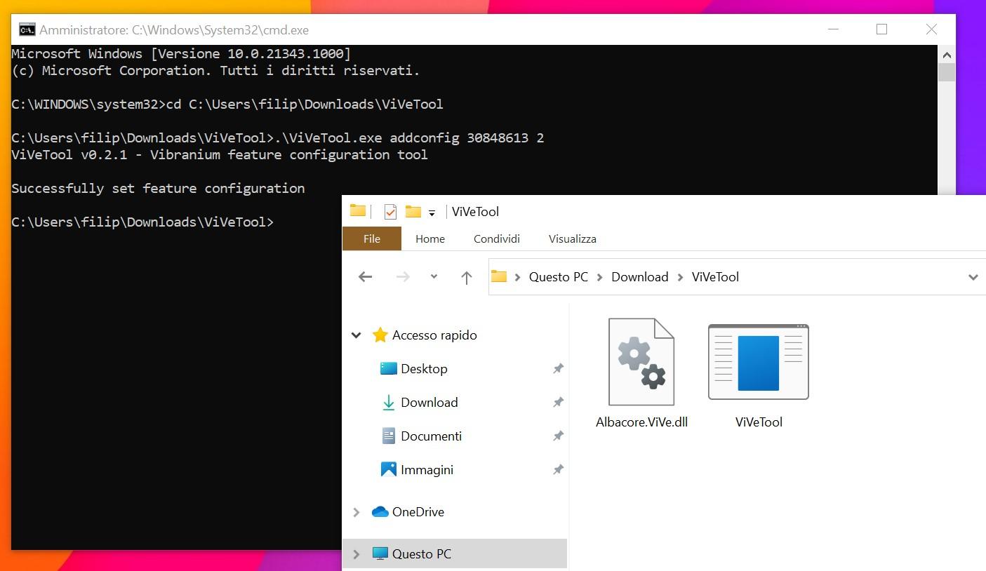 Strumento ViVeTool - Aggiunta delle configurazioni