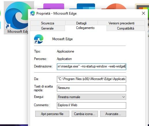 Widget Notizie e interessi - Microsoft Edge - Abilitazione nelle Proprietà