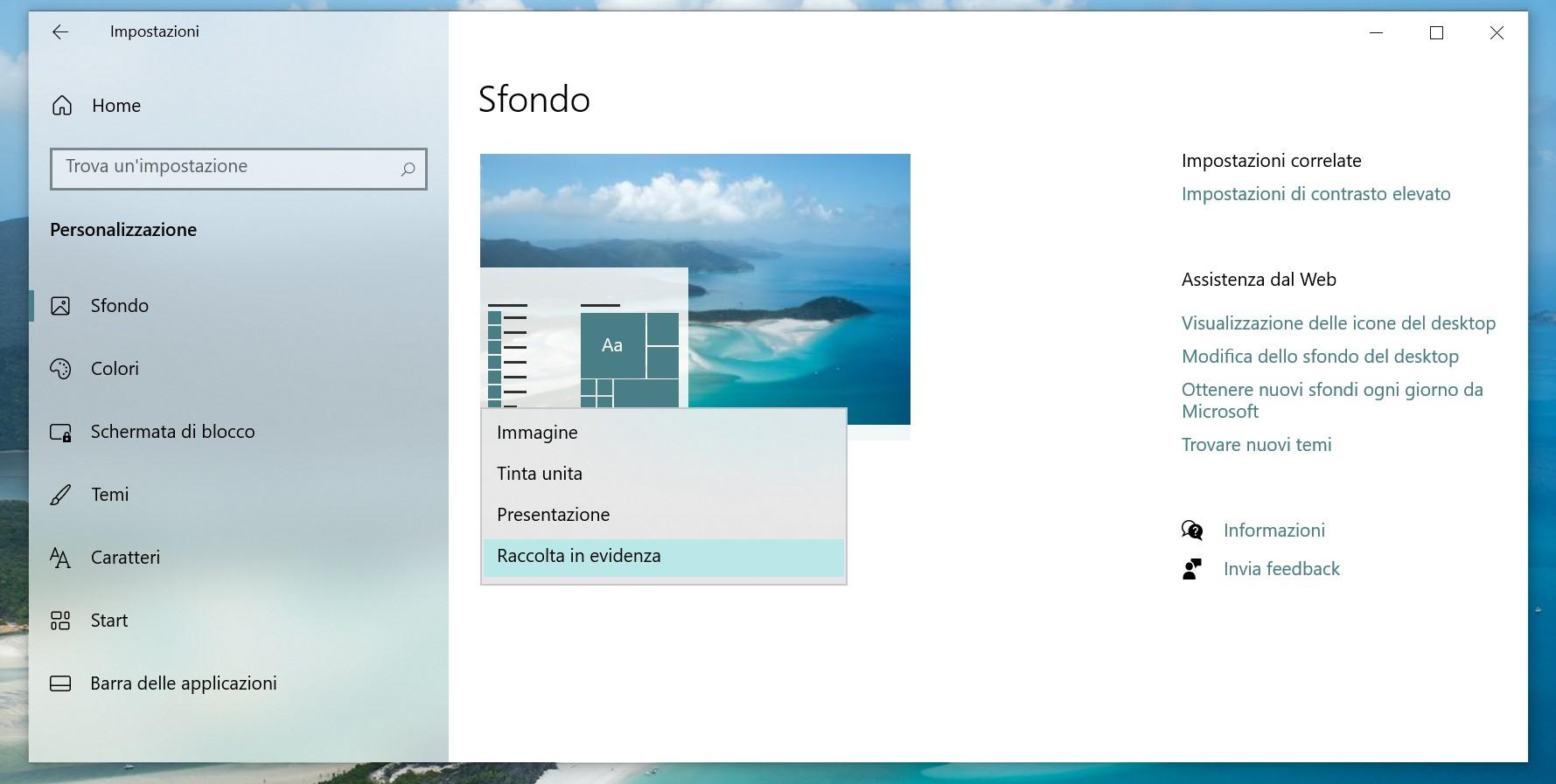 Windows Spotlight sul desktop - Impostazioni sfondo