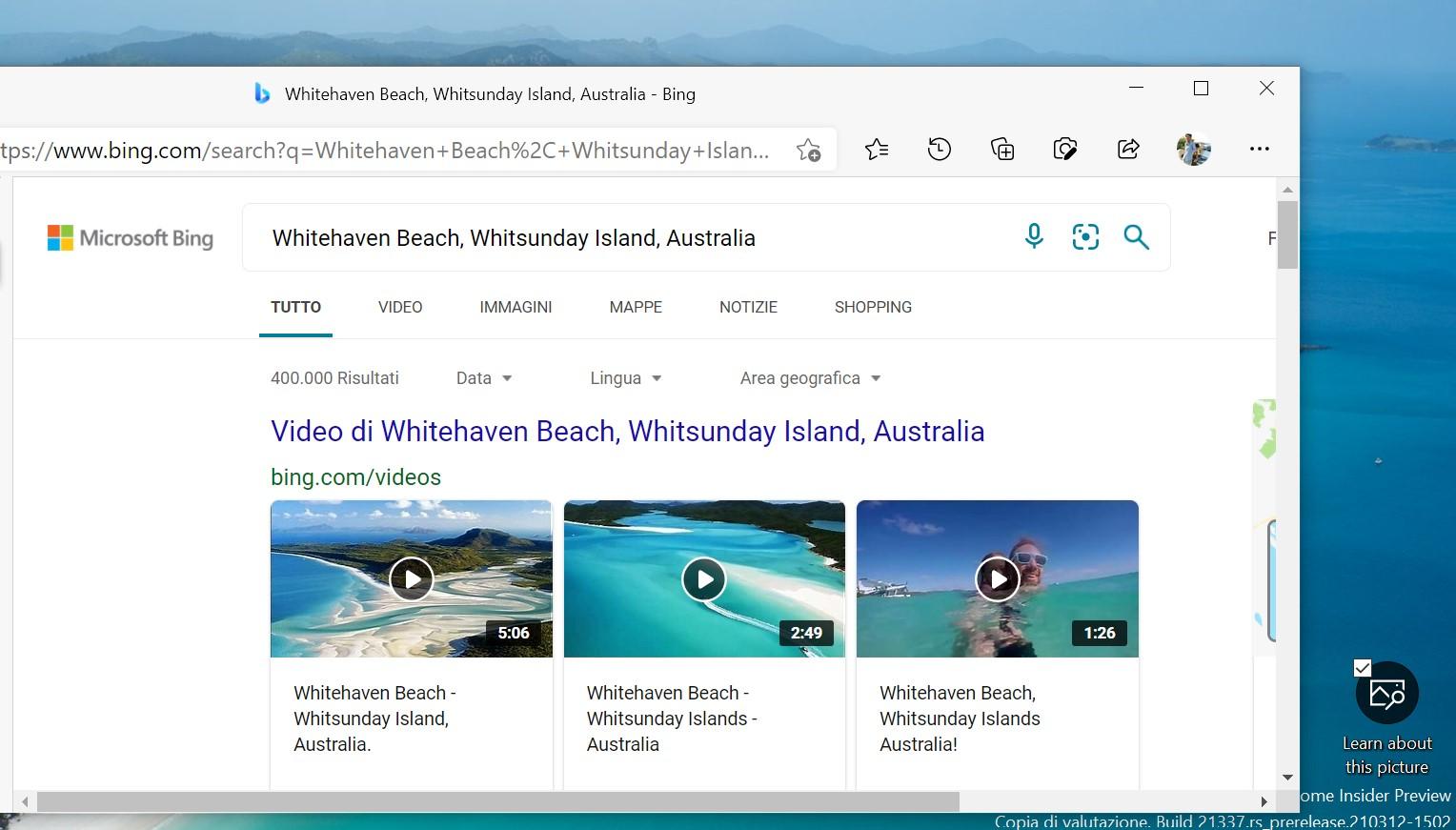 Windows Spotlight sul desktop - Scopri di più sull'immagine impostata come sfondo