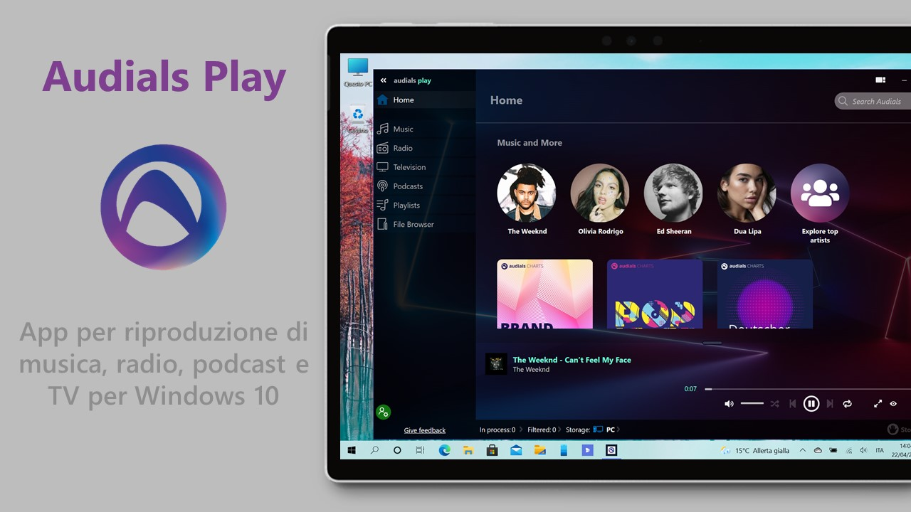 Audials Play - App per riproduzione di musica, radio, podcast e TV per Windows 10