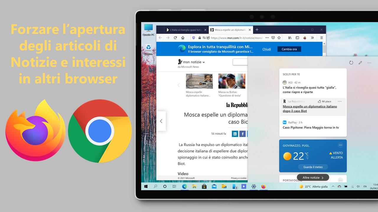 Come forzare l'apertura degli articoli di Notizie e interessi in altri browser