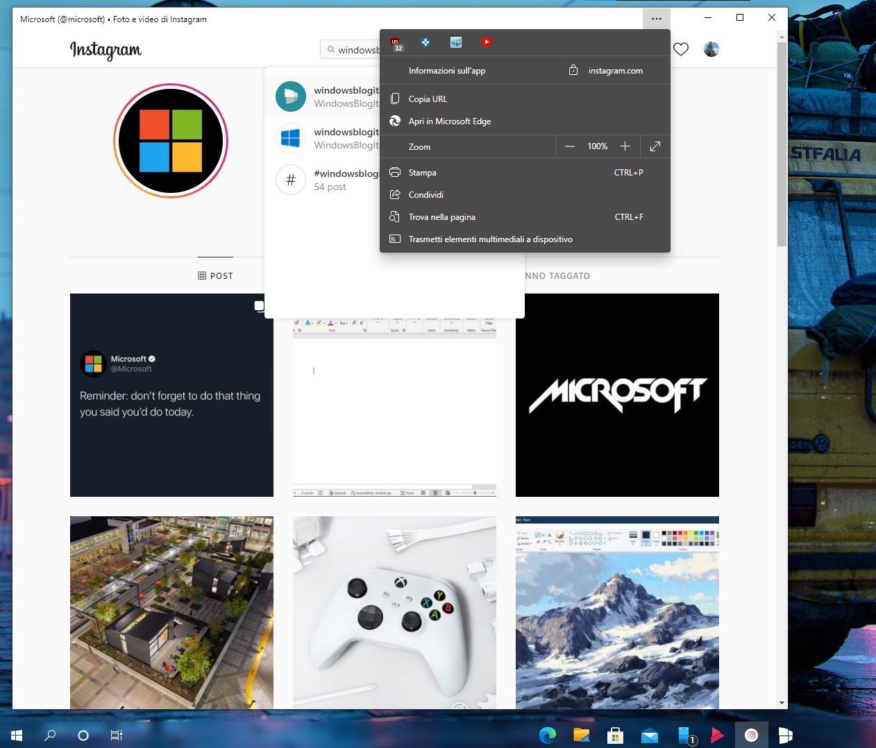 Instagram per Windows 10 - Nuova PWA basata su Edge