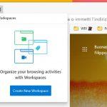 Microsoft Edge - Aree di lavoro - Crea nuovo workspace