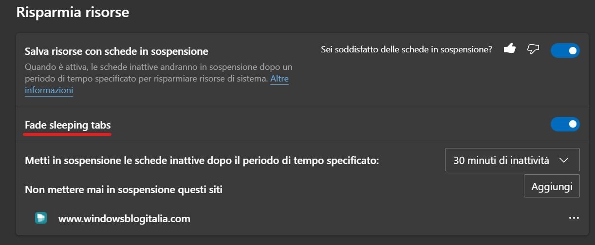 Microsoft Edge Dev - Fade per le schede in sospensione