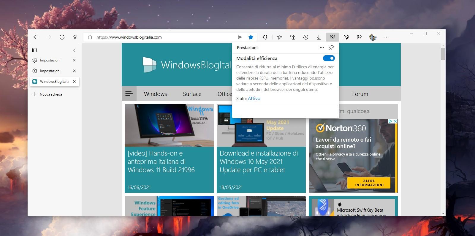 Microsoft Edge - Pulsante prestazioni sulla barra degli strumenti