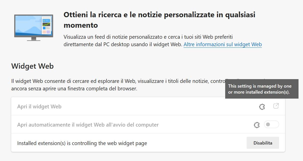 Microsoft Edge - Widget Web - Utilizzo bloccato da un'estensione installata nel browser
