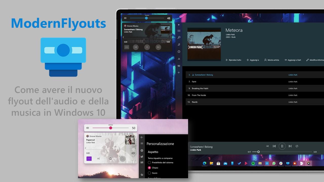 ModernFlyouts - Come avere il nuovo flyout dell'audio e della musica in Windows 10