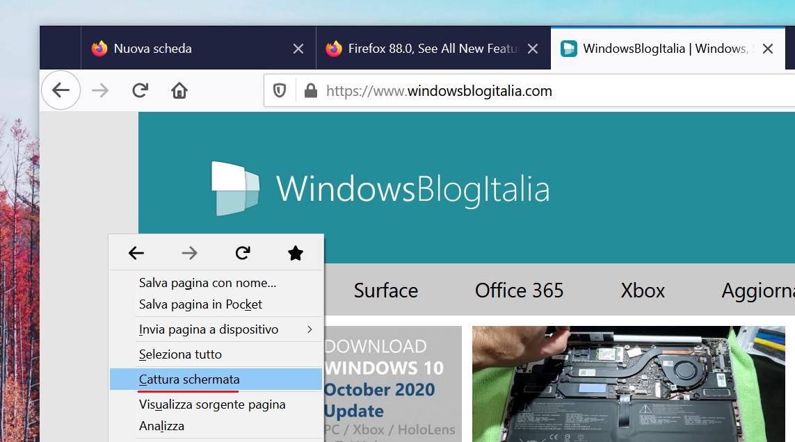 Mozilla Firefox 88 - Cattura schermata