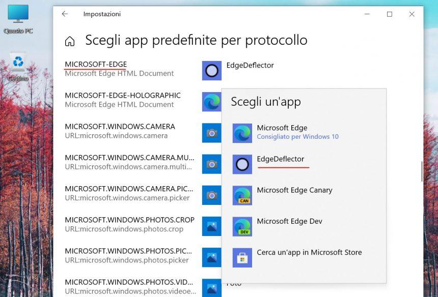 Windows 10 - Impostazioni app predefinite per protocollo - EdgeDeflector