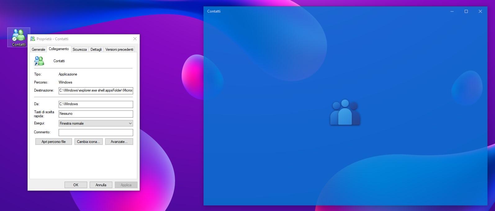Contatti Microsoft - Collegamento per aprire l'app in Windows 10