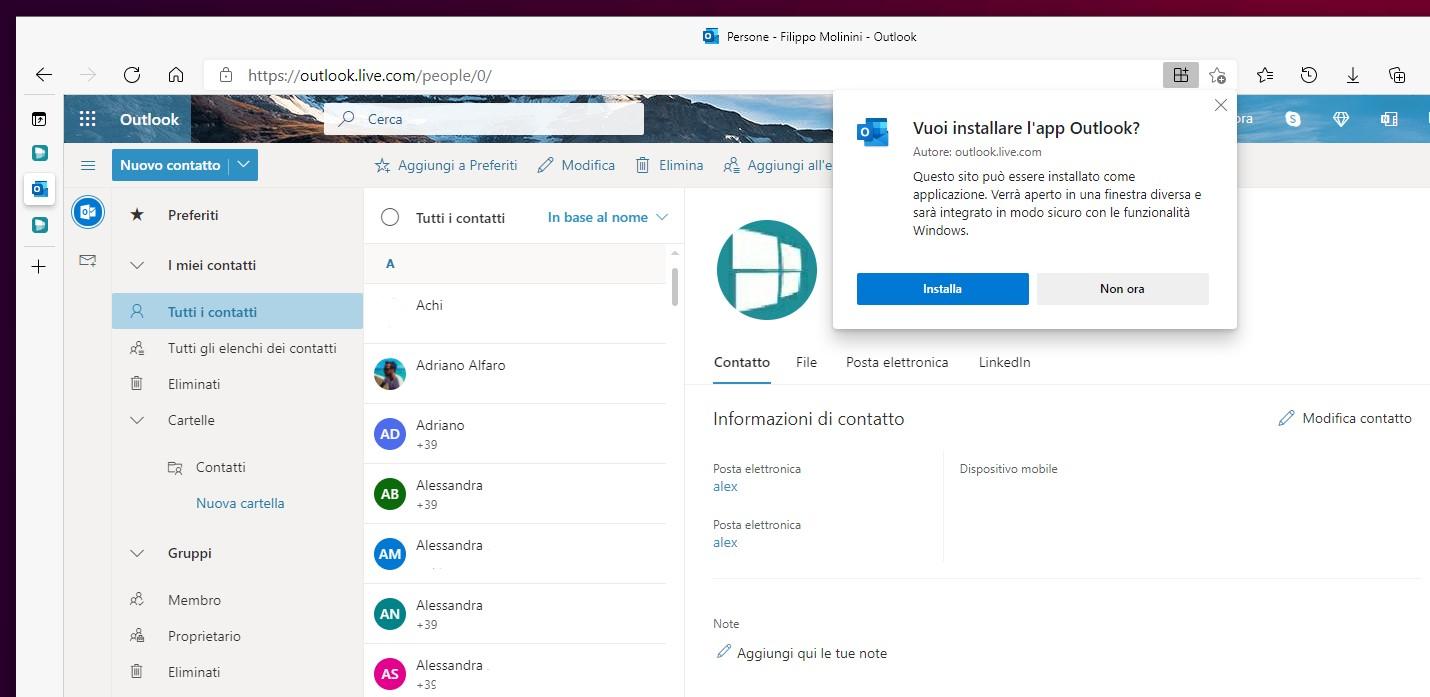 Contatti Outlook - Progressive Web App - Microsoft Edge