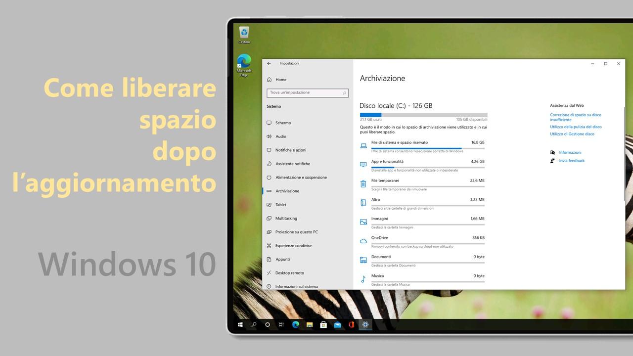 Windows 10 May 2021 Update - Liberare spazio