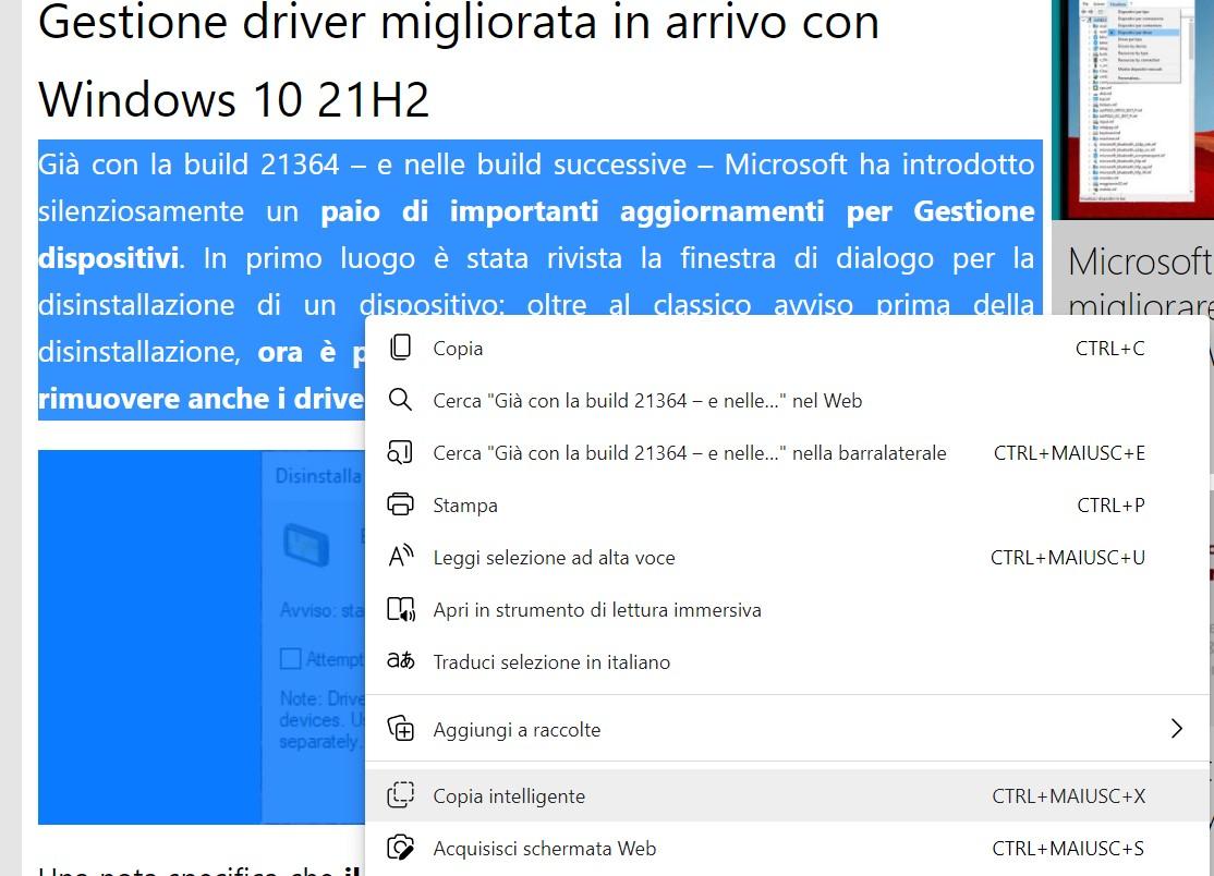 Microsoft Edge Beta - Copia intelligente