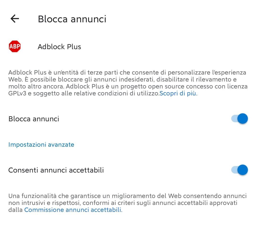 Microsoft Edge Canary per Android - Blocco annunci con Adblock Plus