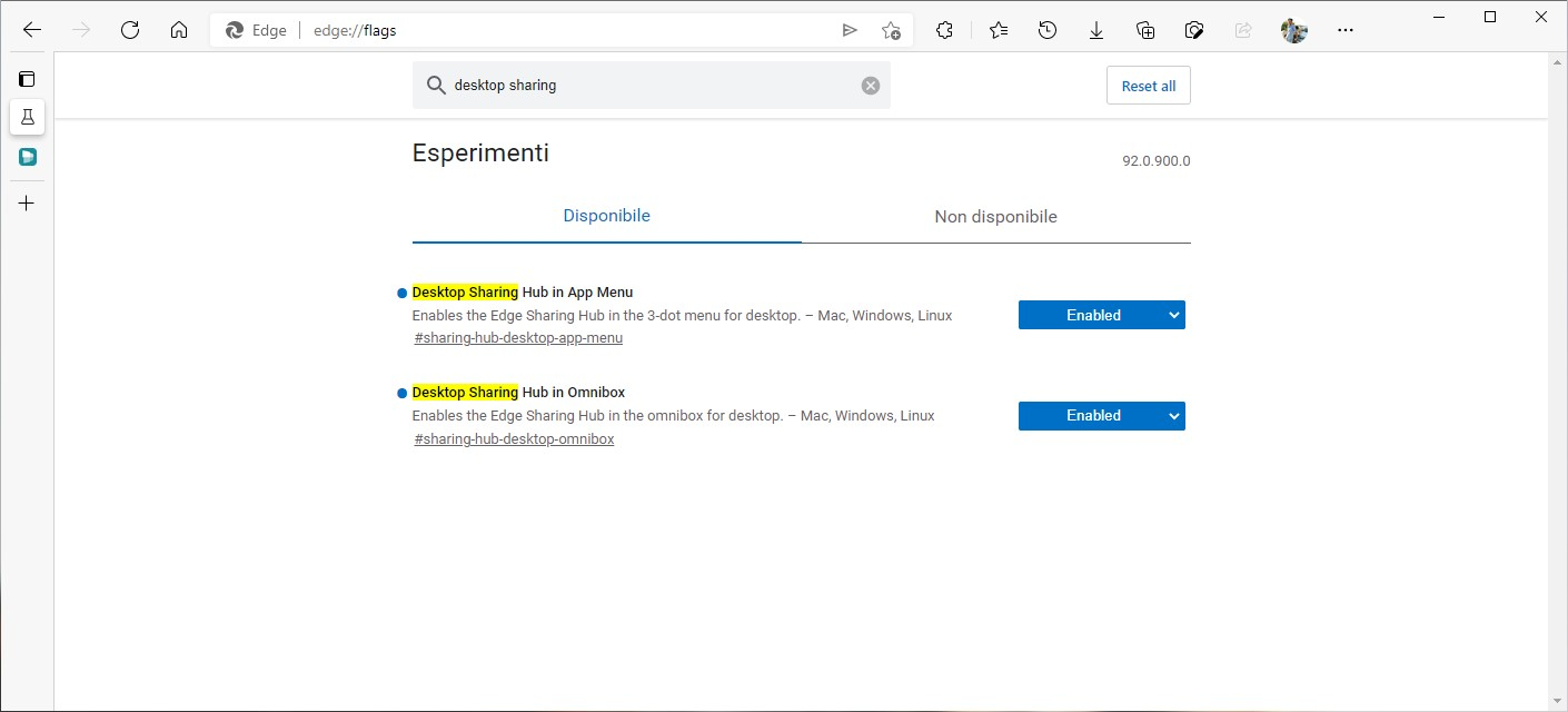 Microsoft Edge - Flags - Desktop sharing