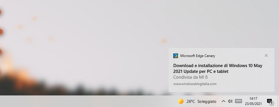 Microsoft Edge - Invia ai dispositivi - Notifica per la pagina web inviata sul PC