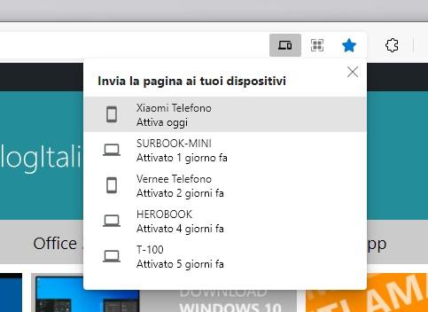 Microsoft Edge - Invia ai dispositivi - Selezione dispositivo a cui inviare la pagina web dal PC