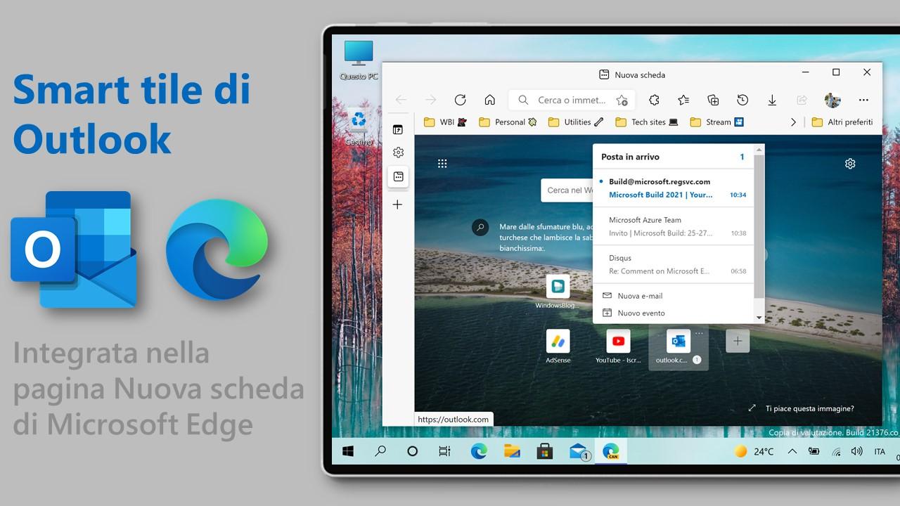 Microsoft Edge - Pagina nuova scheda - Smart tile di Outlook