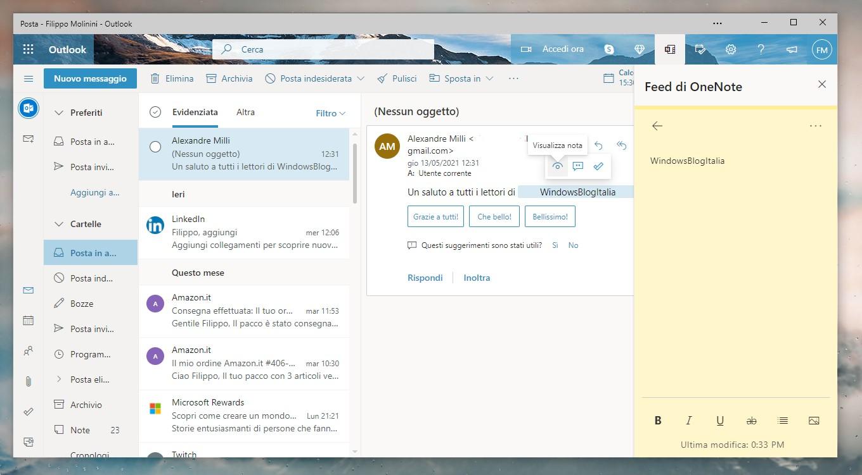 Outlook - Crea note da qualsiasi messaggio