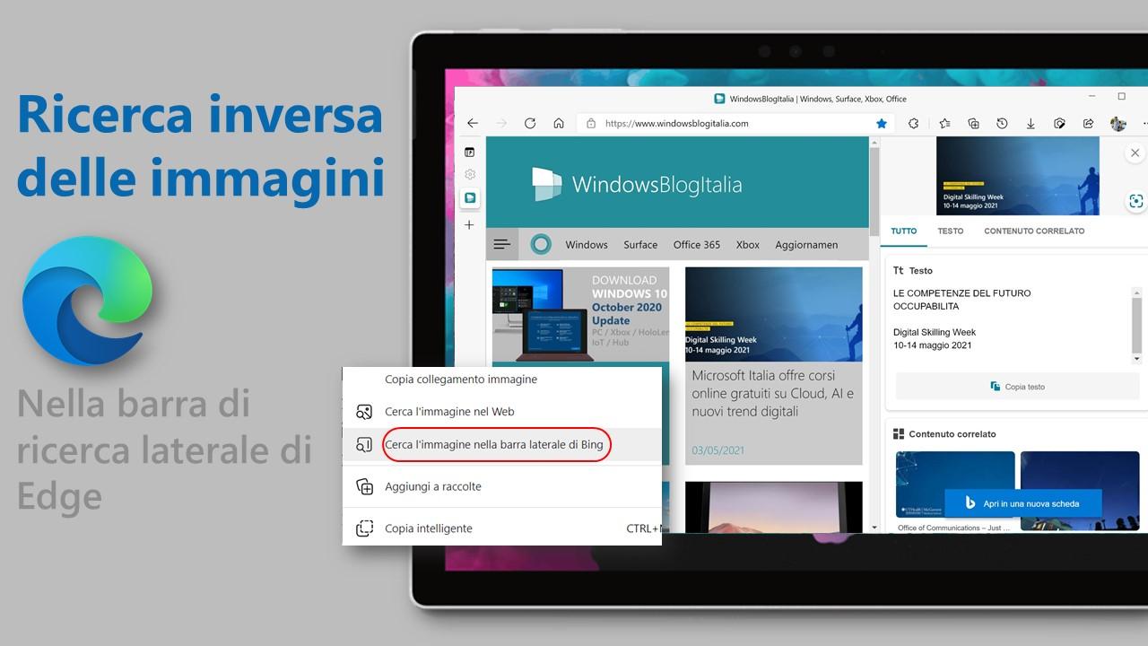 Ricerca inversa delle immagini - Barra di ricerca laterale di Microsoft Edge