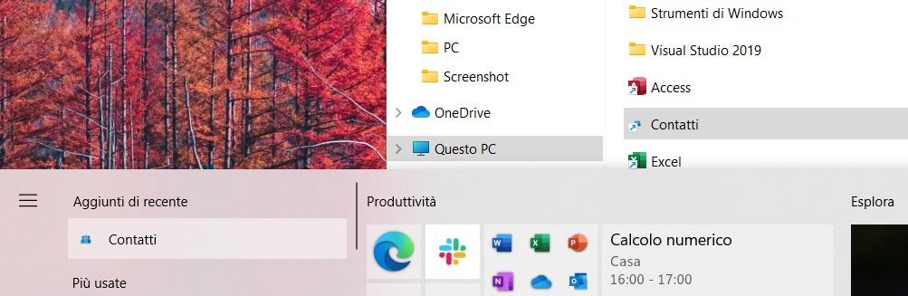 Ripristinare icona app Contatti nel menu Start di Windows 10