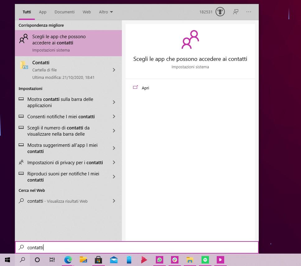 Windows 10 - Ricerca Windows - Contatti