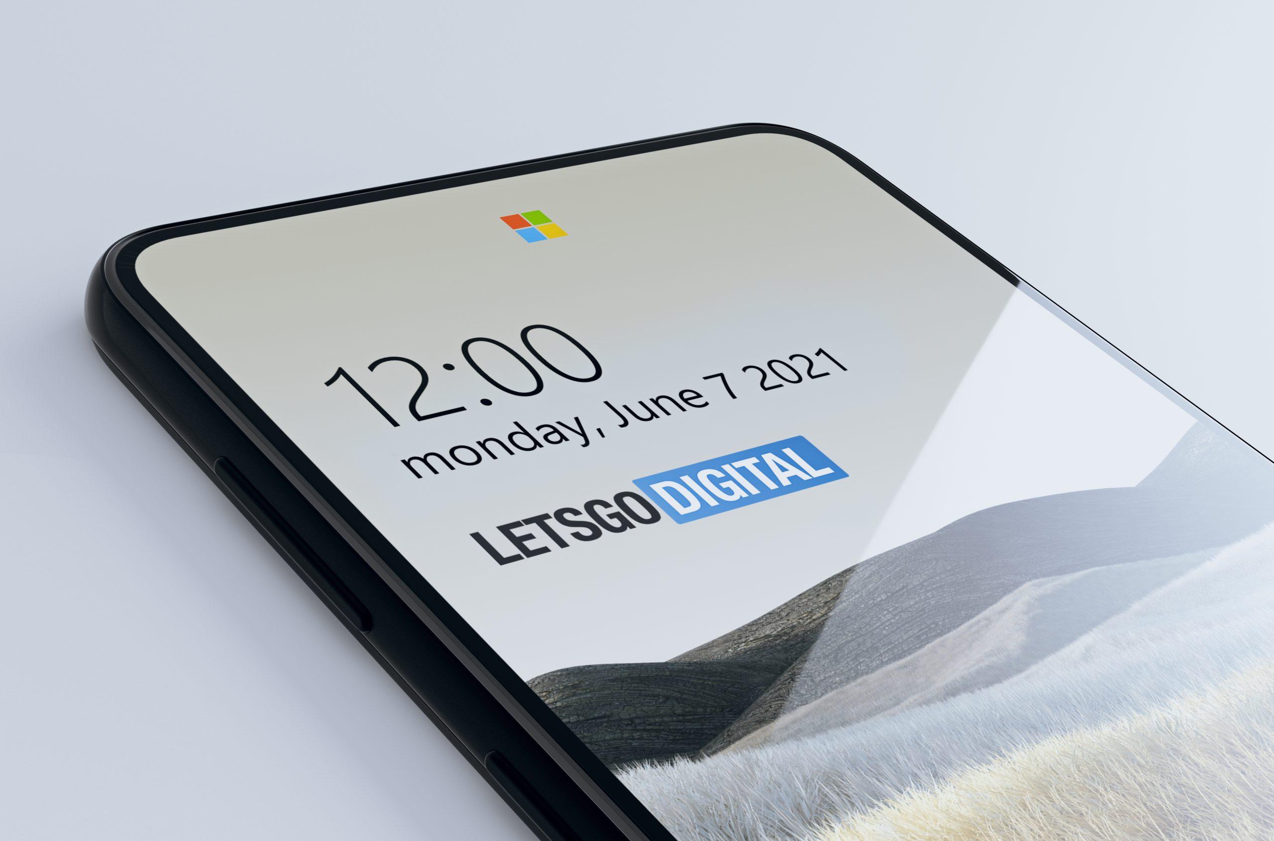 Concept brevetto Microsoft Surface Duo - Fotocamera-logo sotto il display