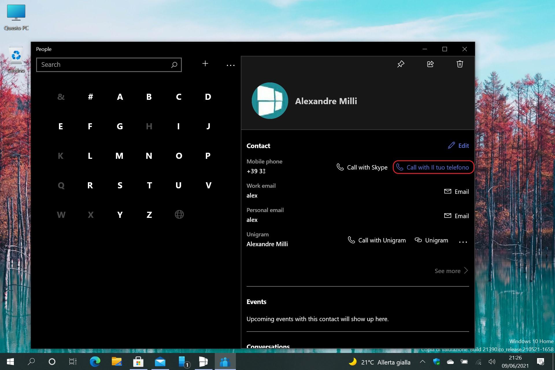 Contatti Microsoft per Windows - Chiama con Il tuo telefono