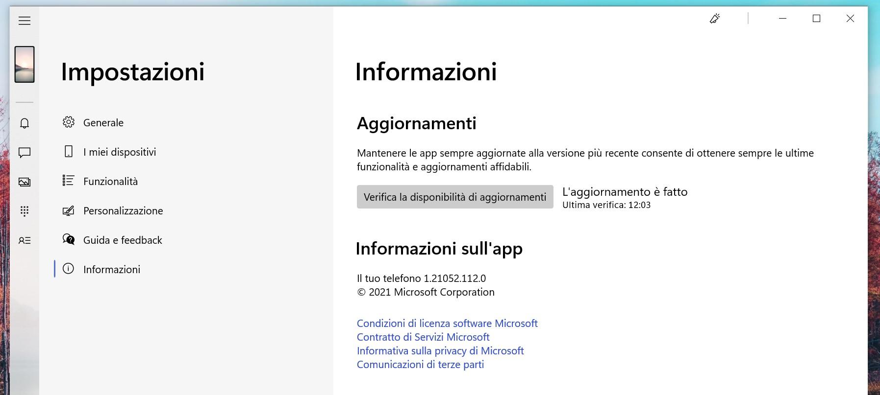 Il tuo telefono (Your Phone) per Windows - Verifica disponibilità aggiornamenti