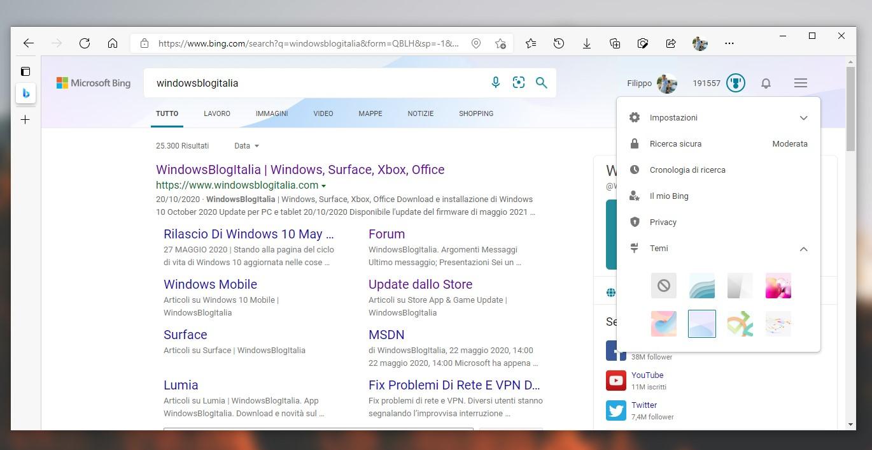 Microsoft Bing - Nuovi temi per personalizzare la pagina di ricerca