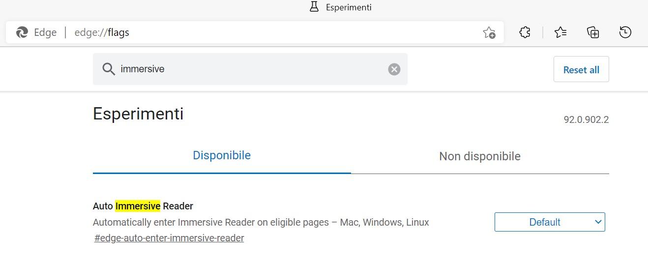 Microsoft Edge - Flag - Auto Strumento di lettura immersiva